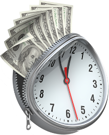 image of alrm clock with money on top